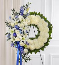 Serene Blessings? Standing Wreath- Blue & White